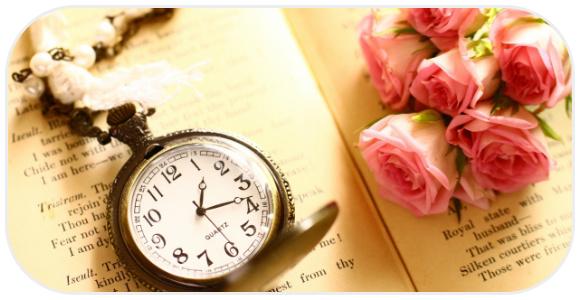 時計とバラ